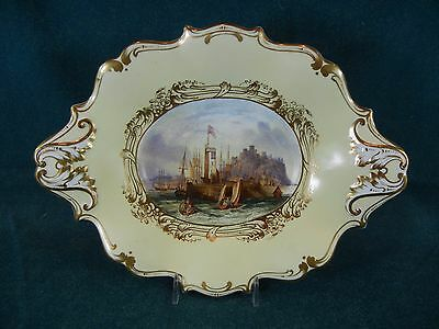 Early English Dessert Dish Hand Painted Scarborough From the Sea Scene