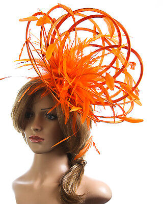 Orange Fascinator hat /& Hot Pink  highlight//choose any colour satin//feathers
