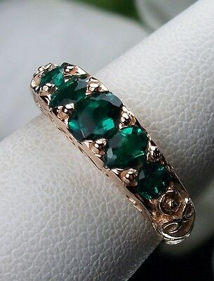 Green Emerald Sterling Silver & Rose Gold Georgian Filigree Ring (MTO) Size Any