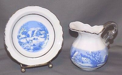 Beautiful Smith Western Japan Small Pitcher and Plate Set, Winter Scenes