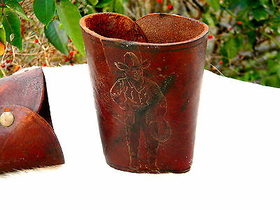 Vintage KIDS' COWBOY CUFFS - Tooled Leather BUCKAROO IMAGE