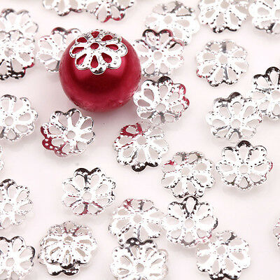 Wholesale 100/200Pcs Hollow Silver Plated Flower Jewelry Finding Bead Caps 7x2mm