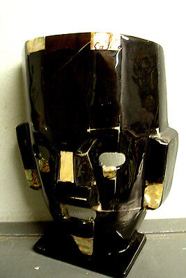 Vintage Mexican Folk Art Black Stone Mask Sculpture Inlaid Abalone Shell Mexico