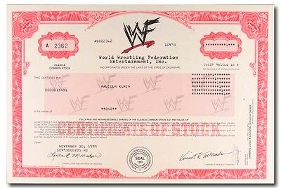 S453 World Wrestling Federation Entertainment Inc 1999 Stock Certificate Red