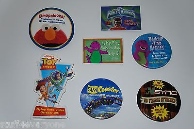 Employee Wal-Mart Pinback Button Lot: Toy Story, Power Rangers, Barney, Nsync