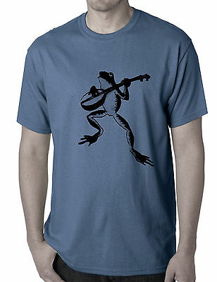 Funny T-Shirts Men's Frog toad playing banjo guitar retro  Check size xxl NEW