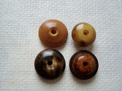 4 Assorted Antique Whistle Buttons Vegetable Ivory Etc.