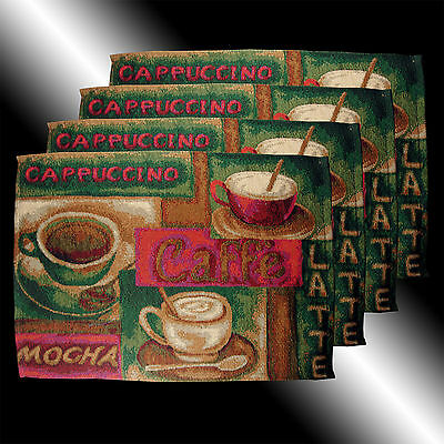 Set Of 4 Vintage Country Coffee Cup Cafe Tapestry Deco Table Linen Placemats
