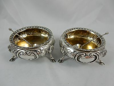 LARGE pair, VICTORIAN silver SALTS, 1859, 170gm