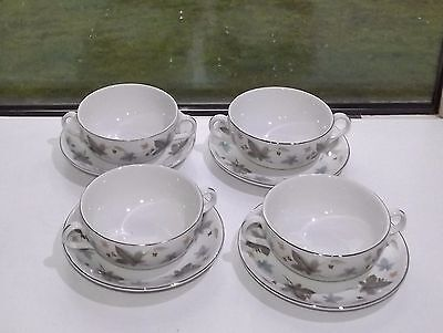 Ridgway Pottery Staffordshire Vinewood, White Mist 4 x Soup Coupes and Stands