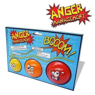 Anger Management Anti Stress Balls Set of 3 Office Gift Executive Toys