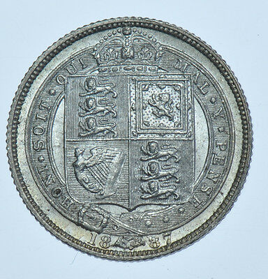 1887 Sixpence, Withdrawn Type, British Silver Coin Au
