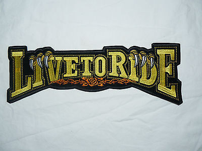 Live To Ride Large Iron-on/sew-on Embroidered Patch Motorcycle Biker