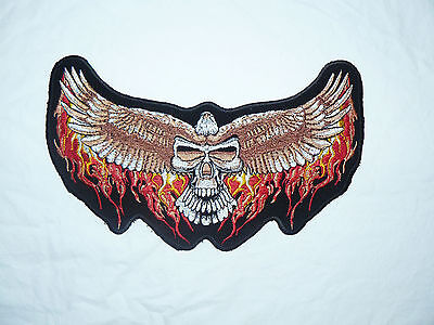 Eagle Skull wings Large Iron-on/sew-on Embroidered Patch Motorcycle Biker