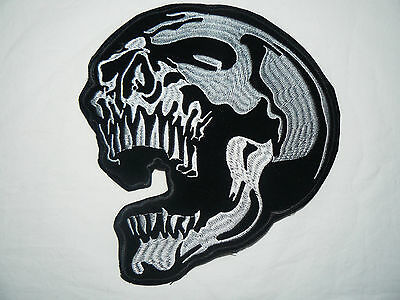 Skull Large Iron-on/sew-on Embroidered Patch Motorcycle Biker