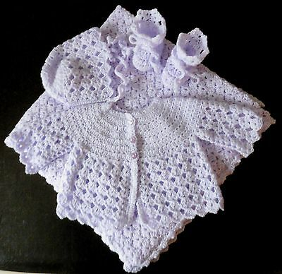 Hand Made Crocheted Lilac Baby Cardigan/Jacket Hat & Boots 0-3 + small comforter