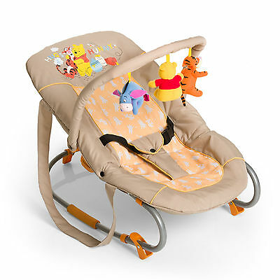 New Hauck Pooh In The Sun Bungee Deluxe Baby Bouncer Rocker Chair & Toy Bar