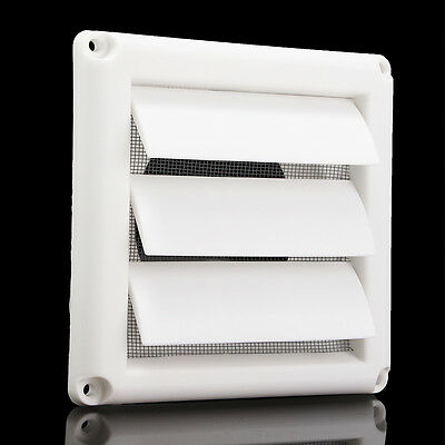 """5.6"""" White Plastic Louvre Air Vent Grille with Adjustable Flyscreen Cover"""