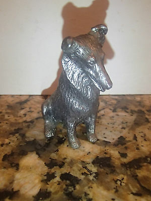 """Vintage Pewter Collie / Sheltie Dog Figurine By Rb Ricker  2 3/4"""" Tall"""