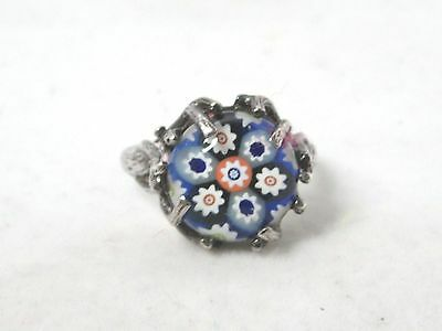 Old 1977 Silver Ring With Millefiori.paperweight