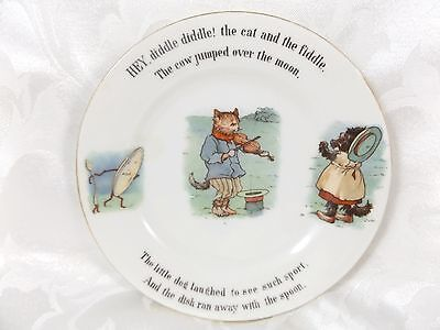 """Vintage Hey Diddle Diddle Child's Plate Signed """"Nursery Rhymes"""""""