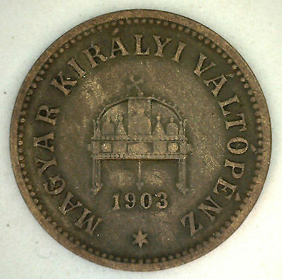 1903 Bronze 2 Filler Hungary Hungarian Coin Currency VF