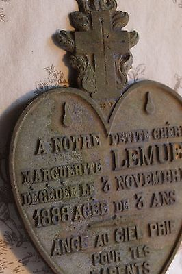 An Antique French Metal Heart Memorial Plaque for 'Marguerite Lemuet' Dated 1888