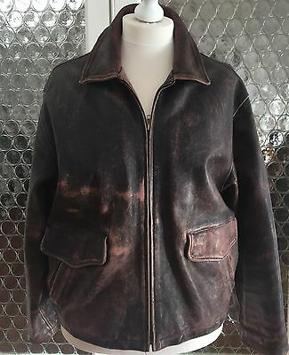 Vintage Mens Leather Jacket Gap Large Aviator