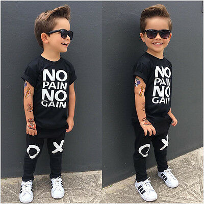 Toddler Kids Baby Boy Outfits Clothes No pain no gain T-shirt Top+Pants 2pcs Set