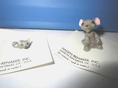 HAGEN RENAKER Porcelain 2 Miniature Figures Mama and Baby Mouse w/Sticker++