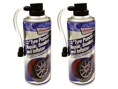 2 x ALL-IN-ONE EMERGENCY TYRE PUNCUTRE REPAIR SEALANT INFLATOR SPRAY SEAL CAN