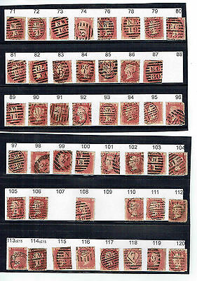 #588 GB QV 18.. 1d penny red plates LONDON collection inc 219 223 & 224
