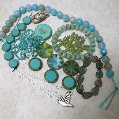 NEW! feminine, Goddess Dove, turquoise and seafoam Collection, Czech glass/Agate