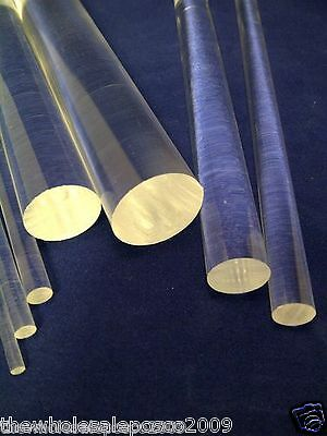 12mm Diameter Solid Clear Perspex Acrylic Rod Plastic Bars 5 Pack 500mm Long