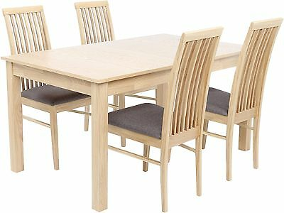 NEW Brooklyn 4-6 Seat Extending Dining Table with 4 Chairs - Beech Effect