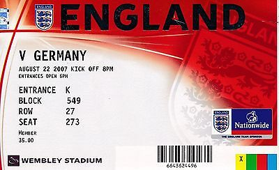 TICKET: ENGLAND v Germany (Friendly) 2007 - EXCELLENT