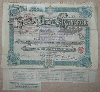 THAILAND Bangkok Tramways and Electric Power Co. Share Certificate +coupons DECO