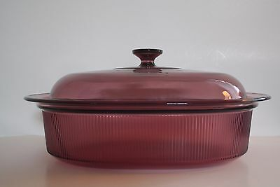 Corning Visions Cranberry 4 Quart Oval Roaster with Lid