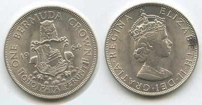 G0075 - Bermuda Britisch One Crown 1964 Silber KM#14 (Five Shillings)