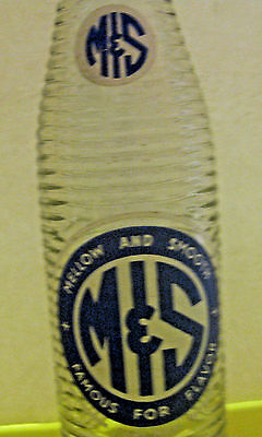 Vintage Mellow & Smooth Ribbed Soda Pop Advertising Bottle ~ Flint Michigan ~