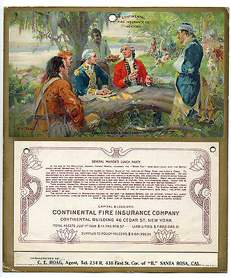 1909 CONTINENTAL FIRE INS. CO. Calendar - General Marion's Lunch Party, FC YOHN