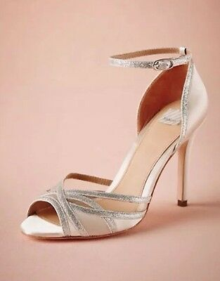 NEW Hitherto 7.5 Satin Sterling Glitter Heels Wedding Bridal Formal Ivory Shoes