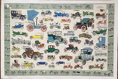 Vtg Tre Tryckare Antique Automobiles Ford Fiat Chevy Renault Print Poster Sweden