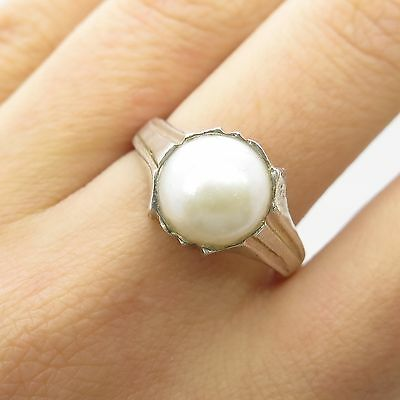 Vtg 925 Sterling Silver Large 10mm Real Pearl Ring Size 8 1/4