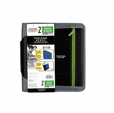 """Five Star Zipper Binder 11x8 1/2 2"""" Capacity Black Durable Quick and Easy Access"""