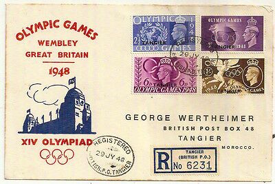1948 London Olympics British Post Office Tangier Registered Env Morocco Agencies
