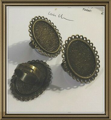10 BRONZE EFFECT ADJUSTABLE RING BLANKS-Suitable for cabochons