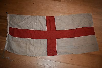 Vintage British Royal Navy WWI WWII White Ensign Flag - St George Cross