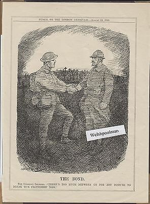 Vintage 1922 Punch Cartoon The Bond  British & French Soldiers After WW1