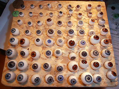 72 piece   vintage  glass eyes lauscha 1890 Germany ca. 0,31- 0,71 diameter
